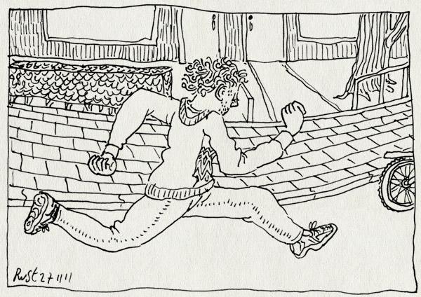 tekening 1648, fietsen, heerhugowaard, leren, midas, rennen, straat