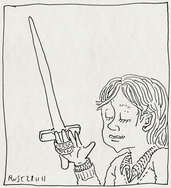 tekening 1649, gebroken, houten zwaard, midas, spalk, vinger, zwaard