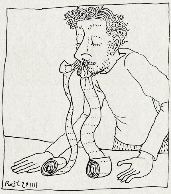 tekening 1650, loopneus, snot, stop, stopneus, stoppen, toiletpapier, wcpapier