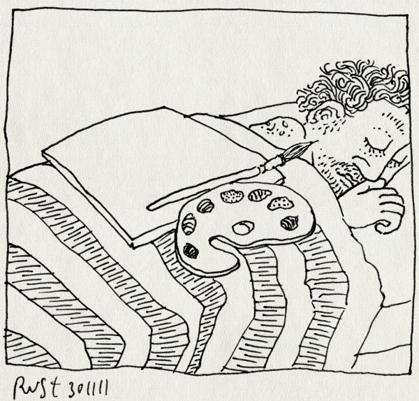 tekening 1651, canvas, kunst, moe, palet, schilderen, slapen