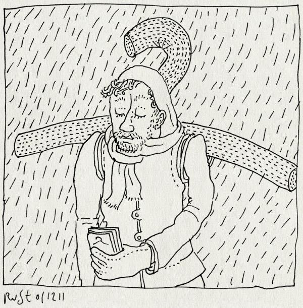 tekening 1652, actie, burorust, concept, fair wear foundation, folders, idee, klerenhanger, regen
