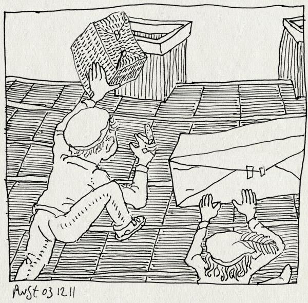 tekening 1654, alwine, bezorgen, broekerveiling, dak, midas, pakhuis, pakjes, schoorsteen, sinterklaas