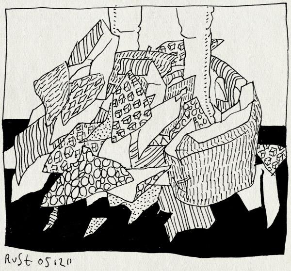 tekening 1656, benen, berg, pakpapier, sinterklaas, snippers, uitgepakt, voeten