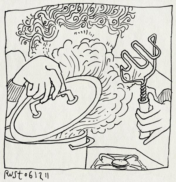 tekening 1657, kijken, koken, pan, stamper, stamppot, stoom