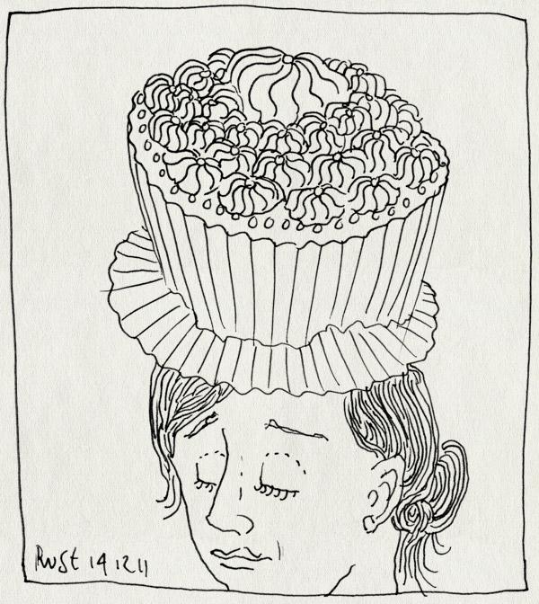 tekening 1665, 10e, cakejes, cupcake, hoed, koningin, mad cupcakehatter, mad hatter, martine