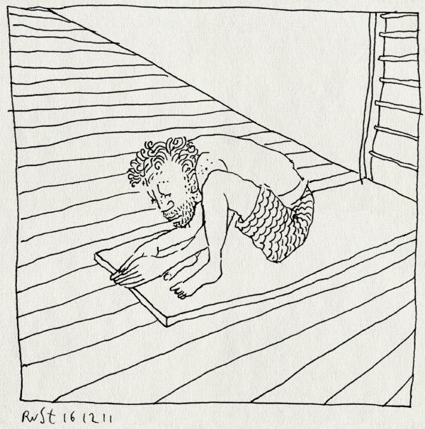 tekening 1667, duikplank, grond, hoogtevrees, laag, laagdrempelig