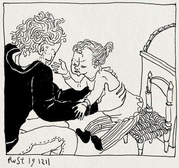 tekening 1670, alwine, boos, gang, huilen, stoeltje, straf, vervelend