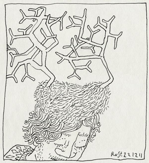 tekening 1673, gewei, hert, muts