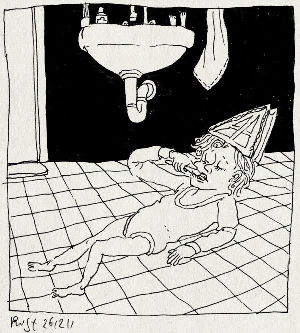 tekening 1677, alwine, badkamer, gek, grek, mijter, ritueel, tandenpoetsen