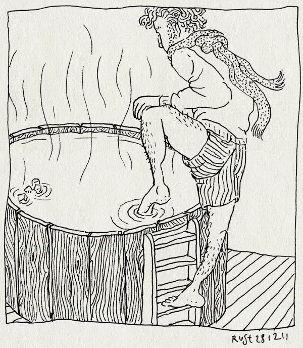 tekening 1679, chez janine, heet, hot tub, hottub, ijsklontjes, koud, sjaal, teen, voelen