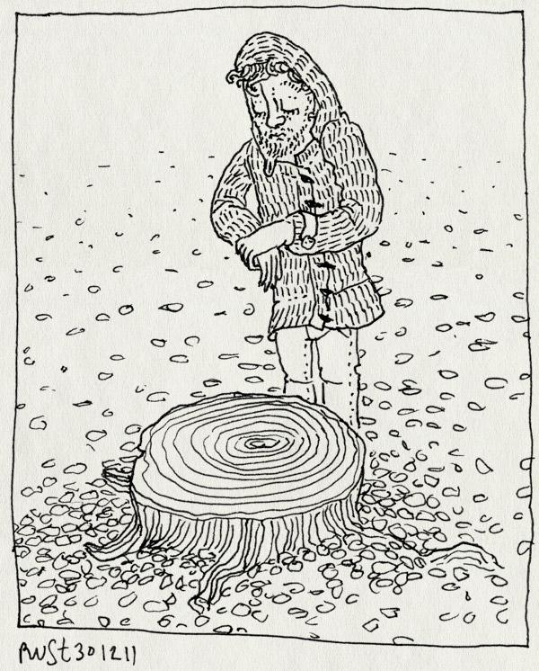tekening 1681, blaadjes, boom, chez janine, omgezaagd, rouw, stam, stilte, stronk, zielig