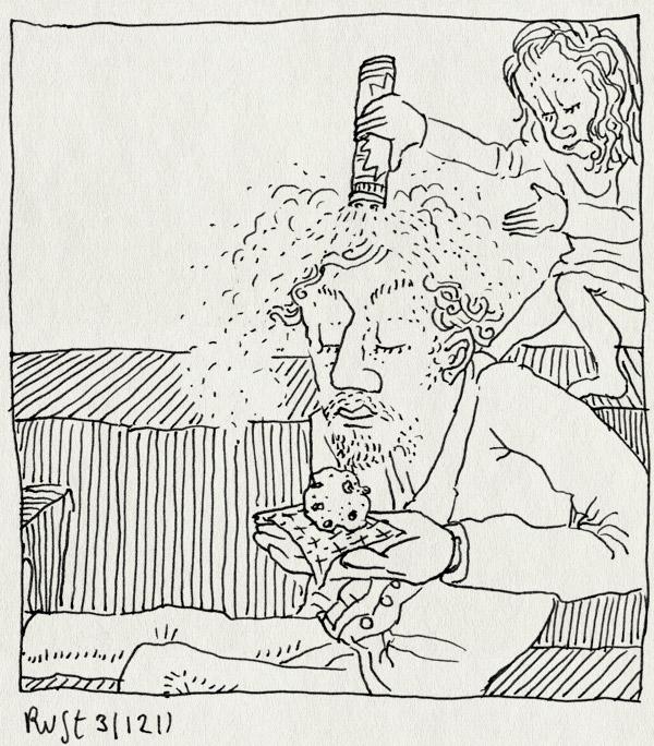 tekening 1682, alwine, bank, krentenbol, oliebol, oudejaarsavond, oudennieuw, poedersuiker, servetje, stout, strooien, zooi
