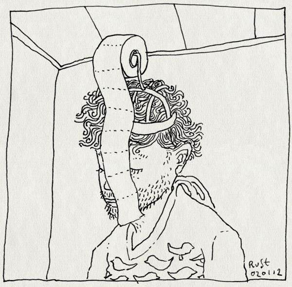 tekening 1684, handig, hoofd, rol, snot, toiletpapier, verkouden, wcpapier