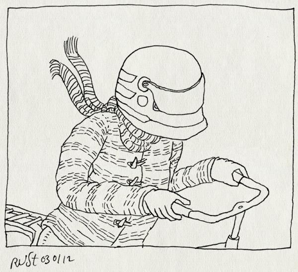 tekening 1685, bah, fiets, helm, kop, koud, pijn, ziek