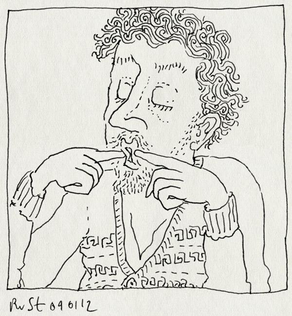 tekening 1686, gekkebek, gekkebekkentrekken, mond, onzin, trui