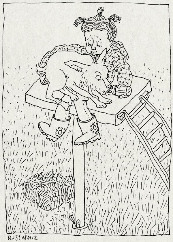 tekening 1690, alwine, amsterdamse bos, baby, geit, geitenboerderij, lief, melk, voeren