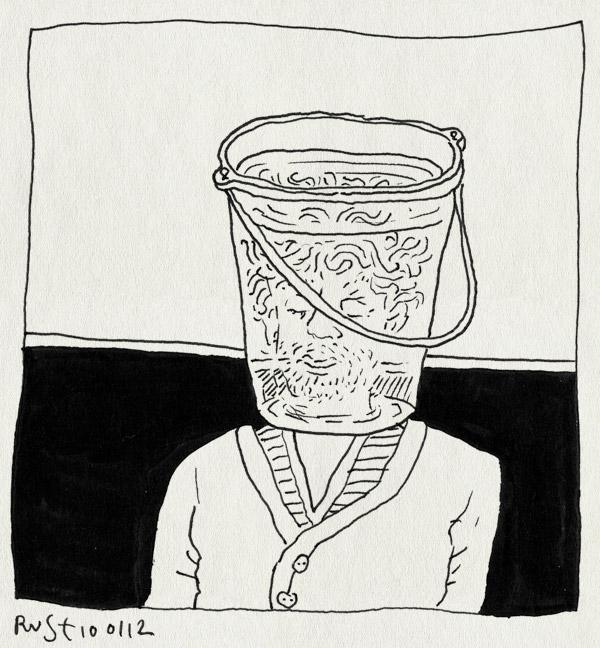 tekening 1692, bah, emmer, gevoel, holtes, hoofd, verkouden, verstopt, water, ziek