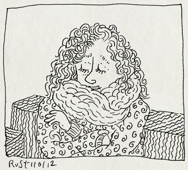 tekening 1693, 10e, haar, kapsel, krullen, krullenkapper, martine, simcha, sjaal