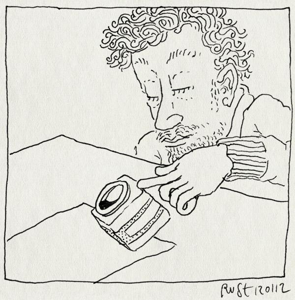 tekening 1694, inkt, inktpotje, moment, omgooien, papier, potje, vallen, vel