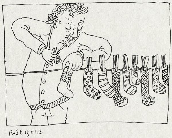 tekening 1697, enkele, knijpers, mysterie, ophangen, paar, sokken, was