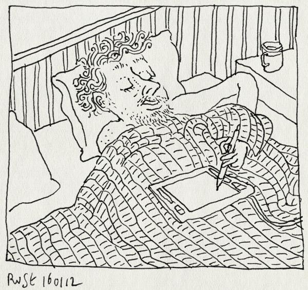 tekening 1698, bed, druk, slaap, tekentablet, wacom, werken