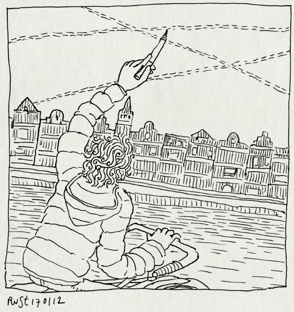 tekening 1699, amstel, amsterdam, chemtrails, gracht, huisjes, lijnen, lucht, tekenen, vliegtuig, vliegtuigsporen