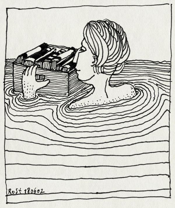 tekening 17, boeken, kratje, verhuizen, water, zwemmen