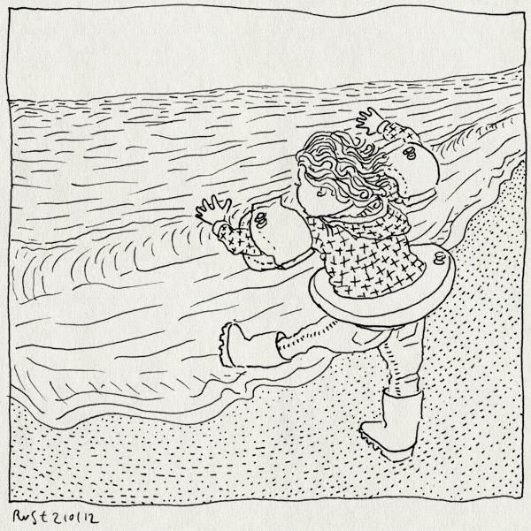 tekening 1702, aantrekkingskracht, alwine, bandjes, boei, vleugeltjes, zee, zwemmen