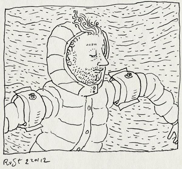 tekening 1703, jas, regen, strand, tegenwind, vleugeltjes, wind, winter, zwembandjes