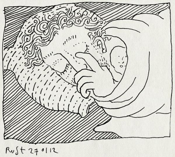 tekening 1708, alleen, duimen, fwf, kapot, moe, slaap, veel