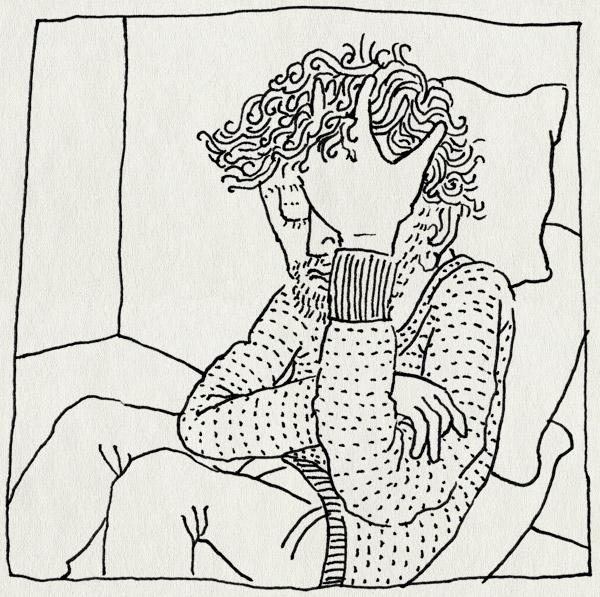 tekening 1710, haar, handen, hoofdpijn, moe, verkouden, ziek