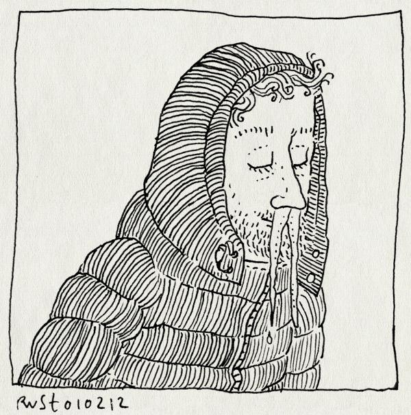 tekening 1713, bevriezen, capuchon, ijspegels, kou, snot