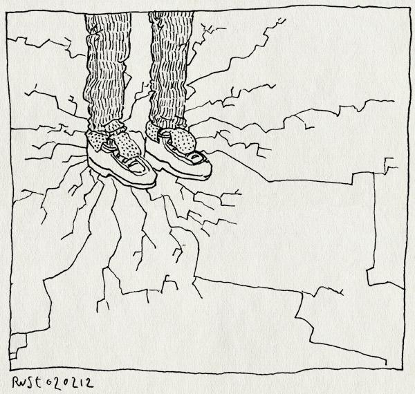 tekening 1714, breken, breuk, breuken, eerste, ijs, kraken, scheuren, schoenen, staan