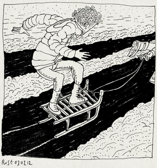 tekening 1715, broek op waterland, frits, ijs, muziekclubje, nacht, slee, spiegelglad, stunt, waargebeurd, zuiderwoude