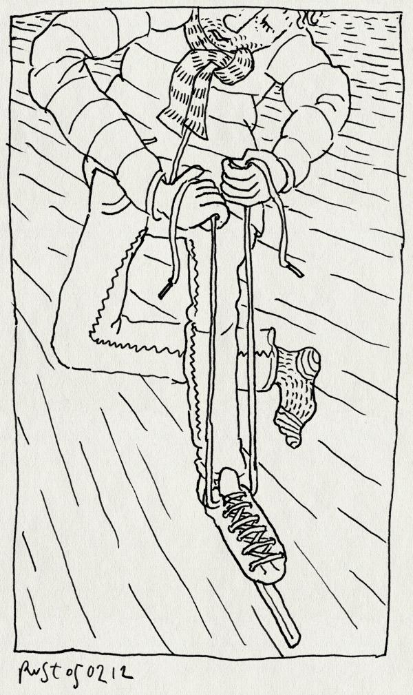 tekening 1717, aantrekken, eindelijk, ijs, noren, schaatsen, veters