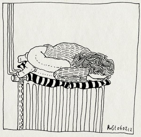 tekening 1718, kachel, katje, koud, koukleum, kussens, liggen, martine, opwarmen, plekje, poes, radiator, verwarming