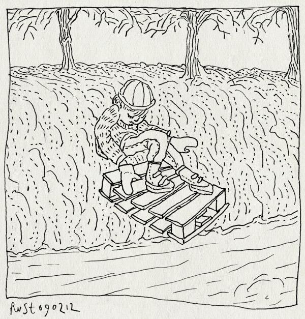 tekening 1721, heerhugowaard, ijs, kade, midas, pallet, slee, wihieeee