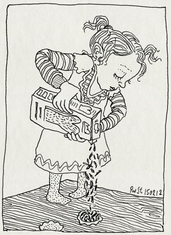 tekening 1727, alwine, hagelslag, hagelslagkoekjes, leuk, staan, strooien, tafel