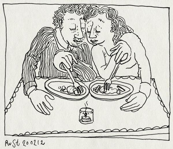tekening 1732, eten, gespiegeld, gezellig, jubileum, kaarsje, lekker, leuk, martine, romantisch, uiteten