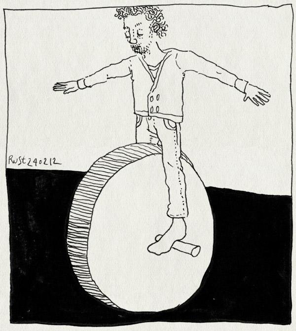 tekening 1736, acrobaat, eenwieler, groot, uitvinden, wiel
