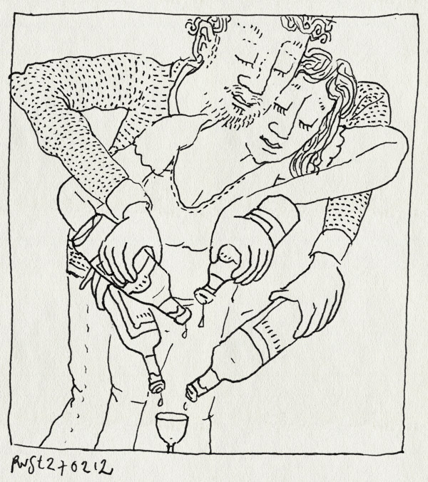 tekening 1739, drank, druppels, flessen, gezellig, martine, ruben, samen, wijn, wit