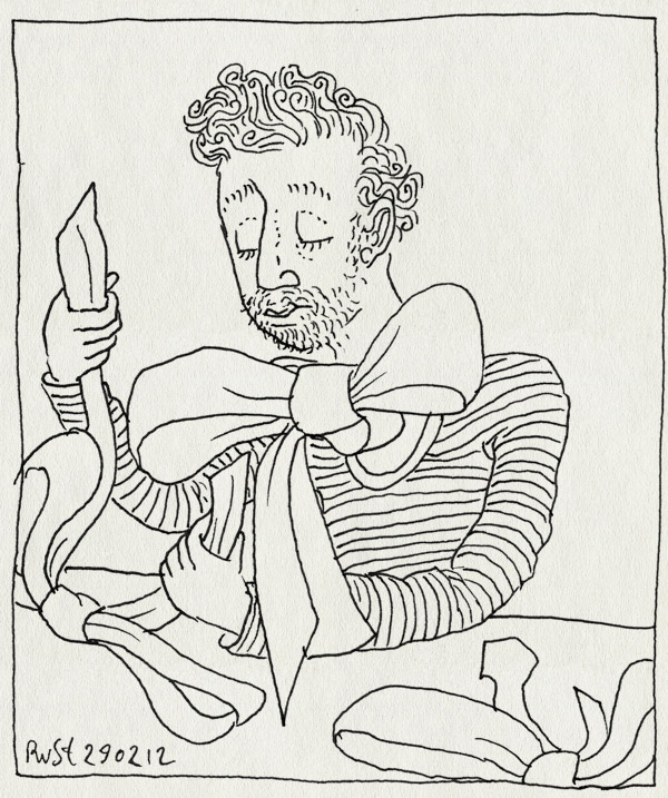 tekening 1741, burorust, lint, strikken, vouwen, werk