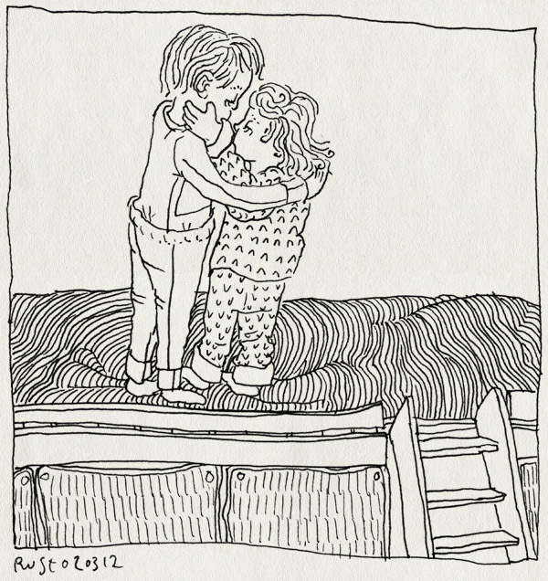 tekening 1743, alwine, bed, broer, dekens, hoogslaper, knuffelen, ladder, lief, midas, zus