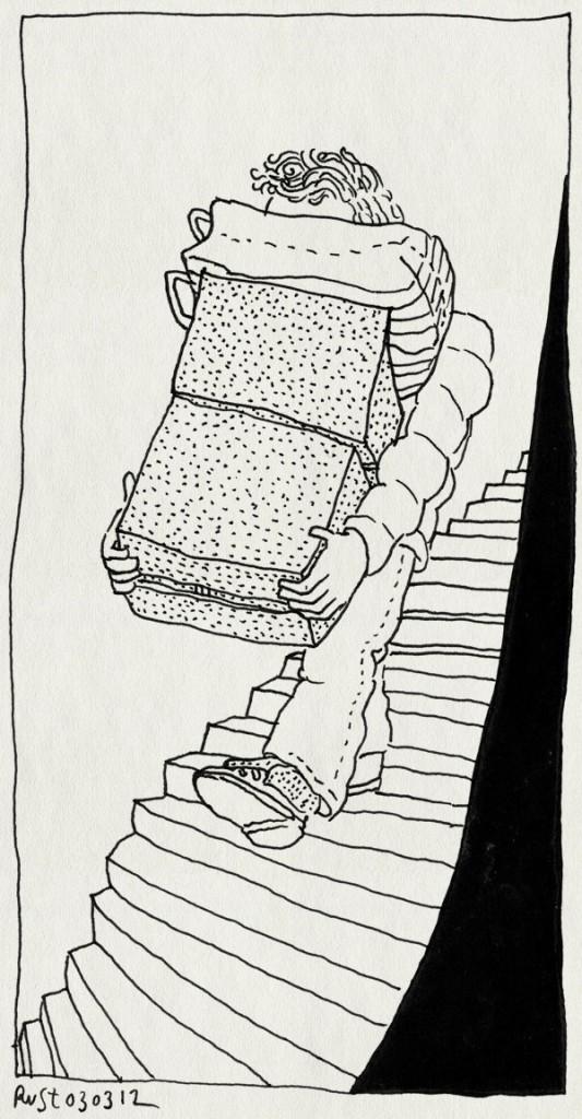 tekening 1744, blind, dozen, gevaarlijk, kijken, stapels, trap