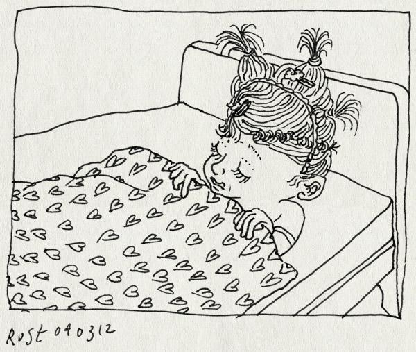 tekening 1745, alwine, bed, elastiekjes, prinses, slapen, straartjes
