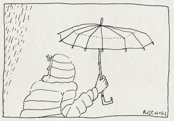 tekening 1748, buitjes, capuchon, droog, lokaal, mis, nat, paraplu, regen