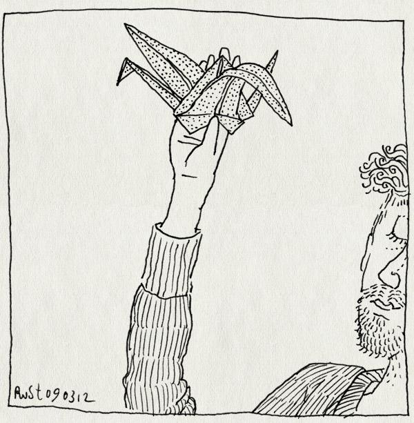 tekening 1750, kraanvogel, origami, vouwen