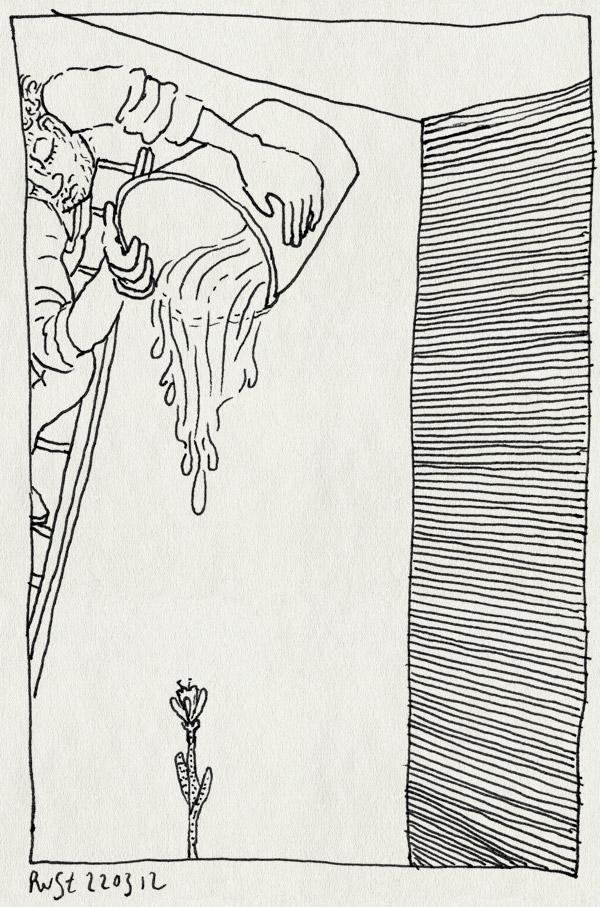 tekening 1763, anticipatie, ladder, plant, water geven, weateren