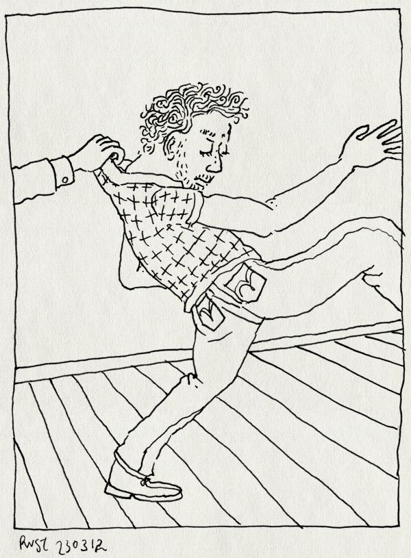 tekening 1764, gevat, hoooo, kraag, stop, tegenhouden, vakantie, werk