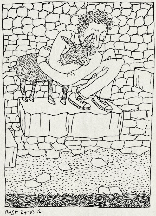 tekening 1768, berend, bokje, geitje, la cenicera, lacenicera, lief, melken, stal